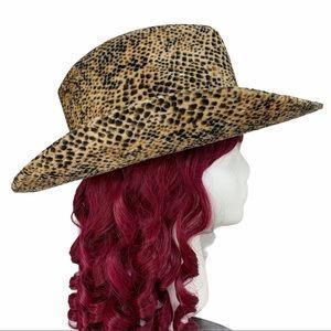 Velvet like Faux Snake Skin Motif CowBoy Hat